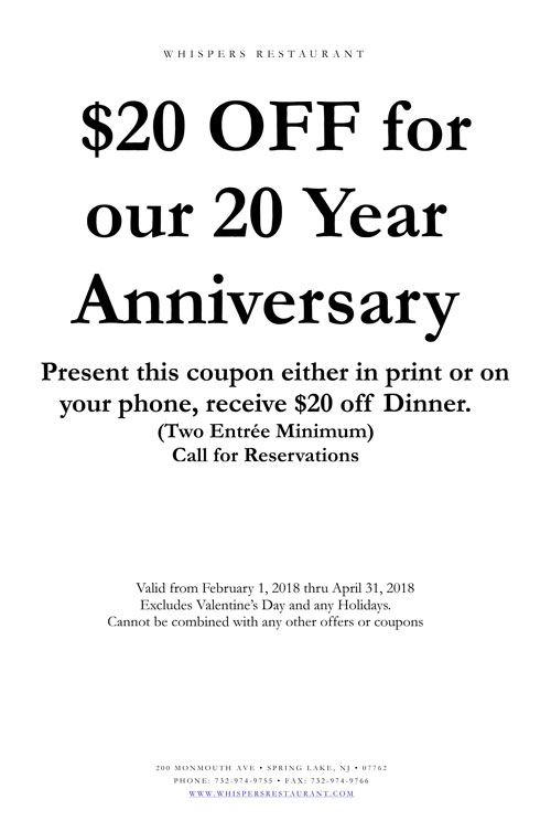 Whispers Spring Lake NJ 20 Dollars for 20 Years Special Promotion